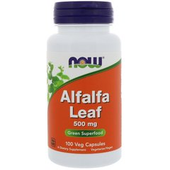 Now Foods NOW-04604 Альфальфа, люцерна, Alfalfa Leaf, Now Foods, 500 мг, 100 капсул, (NOW-04604)