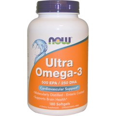 Now Foods NOW-01662 Супер омега 3, Omega-3, Now Foods, 500 EPA/250 DHA, 180 капсул, (NOW-01662)