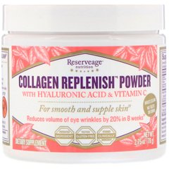ReserveAge Nutrition REA-00234 Коллаген с гиалуроновой кислотой и витамином C, Collagen Replenish, ReserveAge Nutrition, 78 г (REA-00234)