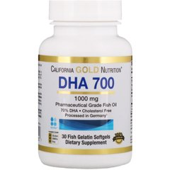 California Gold Nutrition CGN-01252 Рыбий жир, DHA 700, California Gold Nutrition, 1000 мг, 30 капсул (CGN-01252)