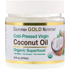 California Gold Nutrition CGN-01190 Кокосовое масло, Virgin Coconut Oil, California Gold Nutrition, органик, 473 мл (CGN-01190)