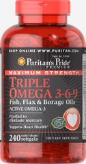 Puritan's Pride PTP-10148 Омега 3-6-9, Maximum Strength Triple Omega 3-6-9 Fish, Flax & Borage Oils, Puritan's Pride, 240 капсул (PTP-10148)