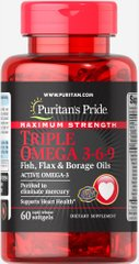Puritan's Pride PTP-10154 Омега 3-6-9, Omega 3-6-9 Fish, Puritan's Pride, масло льна и бораго, 60 капсул (PTP-10154)