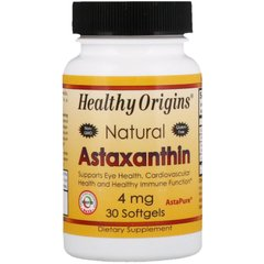 Healthy Origins HOG-84912 Астаксантин, Natural Astaxanthin, Healthy Origins, 4 мг, 30 капсул (HOG-84912)