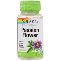 Solaray SOR-01430 Пассифлора, Passion Flower, Solaray, 350 мг, 100 капсул (SOR-01430)