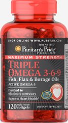 Puritan's Pride PTP-10157 Омега 3-6-9, Omega 3-6-9 Fish, Puritan's Pride, масло льна и бораго, 120 капсул (PTP-10157)
