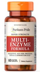 Puritan's Pride PTP-13011 Мульти энзимы, Super Strength Multi Enzyme, Puritan's Pride, 60 капсул (PTP-13011)
