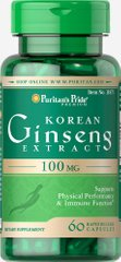 Puritan's Pride PTP-11871 Корейский женьшень, Korean Ginseng Standardized, Puritan's Pride, 100 мг, 60 капсул (PTP-11871)