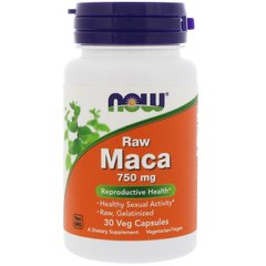 Now Foods NOW-04776 Мака, Raw Maca, Now Foods, 750 мг, 30 капсул, (NOW-04776)