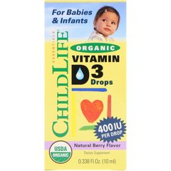 ChildLife CDL-13000 Витамин Д3 для детей, Vitamin D3 Drops, ChildLife, органик, ягоды, 400 МЕ, 10 мл (CDL-13000)