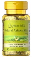 Puritan's Pride PTP-36202 Астаксантин, Natural Astaxanthin 5 mg, Puritan's Pride, 5 мг, 30 капсул (PTP-36202)