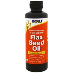 Now Foods NOW-01783 Льняное масло, Flax Seed Oil, Now Foods, лигнан, органик, 355 мл, (NOW-01783)