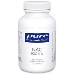 Pure Encapsulations PE-00331 NAC (N-ацетилцистеин) 900 мг, NAC (n-acetyl-l-cysteine) 900 mg, Pure Encapsulations, 120 капсул (PE-00331)