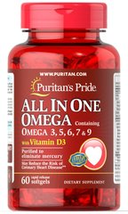 Puritan's Pride PTP-50073 Омега 3-5-6-7-9 и витамин Д3, All In One Omega 3, 5, 6, 7 & 9 with Vitamin D3, Puritan's Pride, 60 к (PTP-50073)