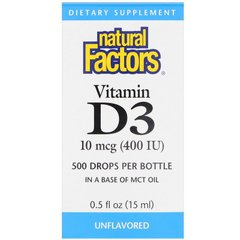 Natural Factors NFS-01058 Витамин D3 для детей, Vitamin D3 Drops, Natural Factors, 400 МЕ, 15 мл (NFS-01058)