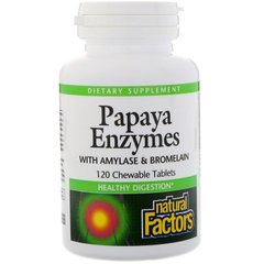 Natural Factors NFS-01749 Ферменти для травлення, Papaya Enzymes, Natural Factors, папаїн, 120 таблеток (NFS-01749)