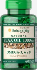 Puritan's Pride PTP-11450 Льняное масло, Natural Flax Oil, Puritan's Pride, без ГМО, 1000 мг, 60 гелевых капсул (PTP-11450)