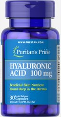 Puritan's Pride PTP-17687 Гиалуроновая кислота, Hyaluronic Acid, Puritan's Pride, 100 мг, 30 капсул (PTP-17687)