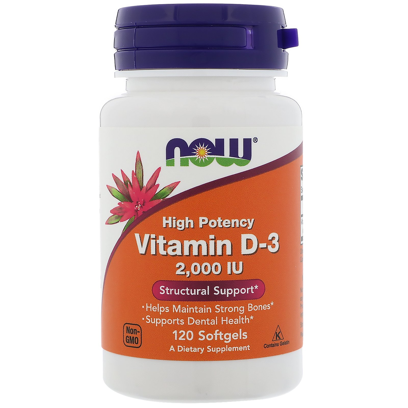 Now Foods NOW-00367 Витамин Д3, Vitamin D-3, Now Foods, 2000 МЕ, 120 капсул, (NOW-00367)