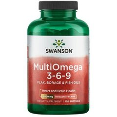 Swanson SWA-17020 Омега 3-6-9, MultiOmega 3-6-9, Swanson, масло льна, бораго и рыбы, 2400 мг, 120 гелевых капсул (SWA-17020)