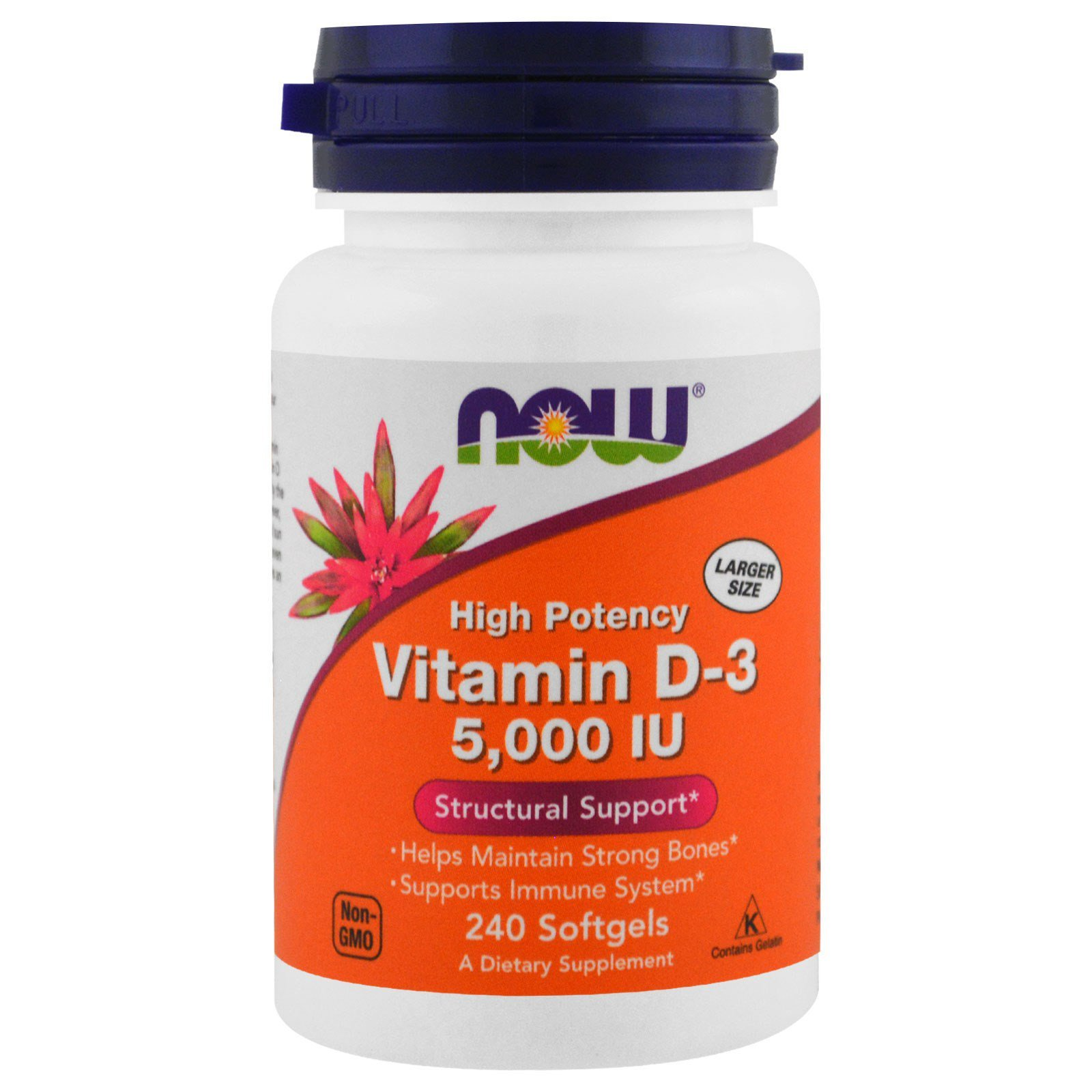Now Foods NOW-00373 Витамин Д3, Vitamin D-3, Now Foods, 5000 МЕ, 240 капсул, (NOW-00373)