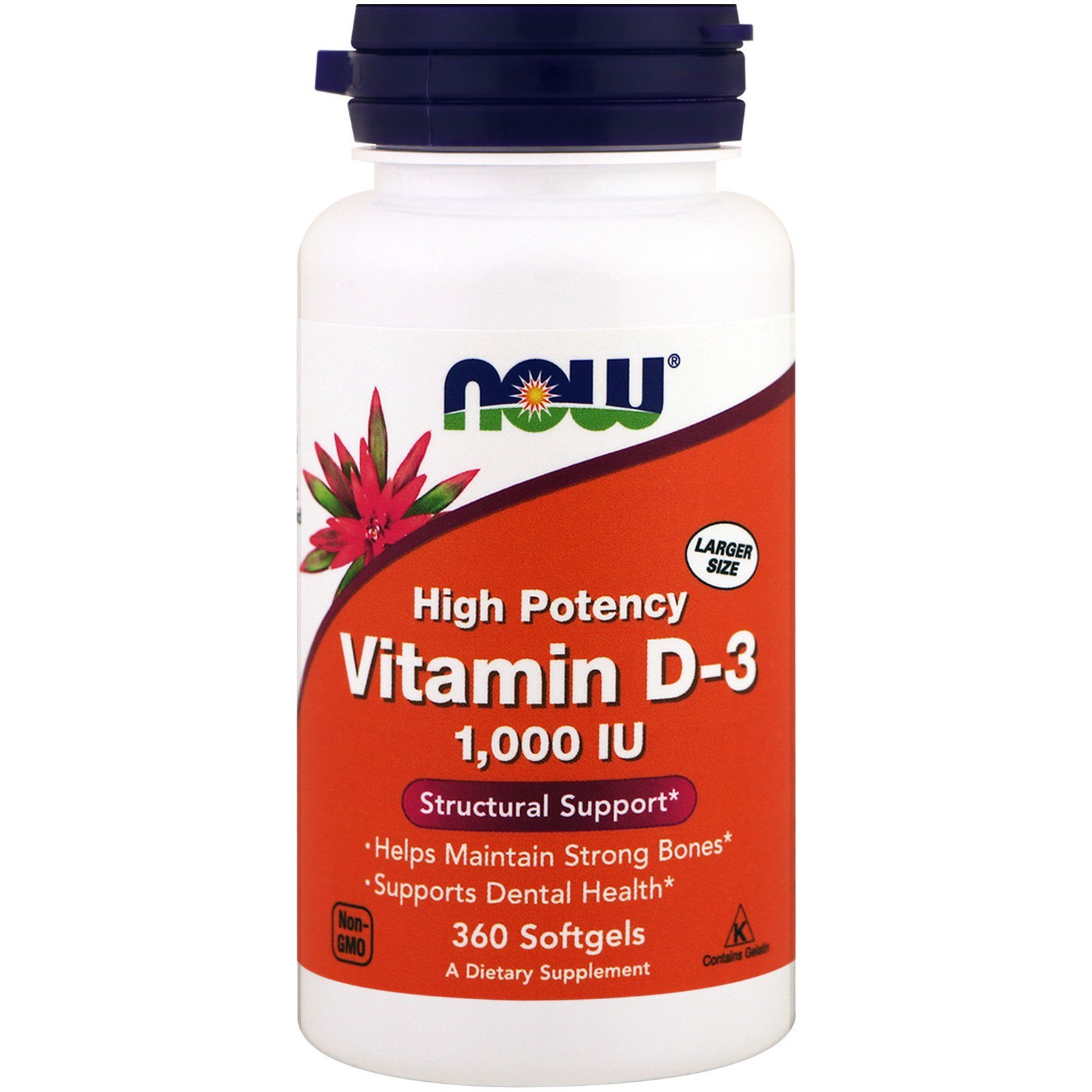 Now Foods NOW-00375 Витамин Д3, Vitamin D-3, Now Foods, 1000 МЕ, 360 капсул, (NOW-00375)