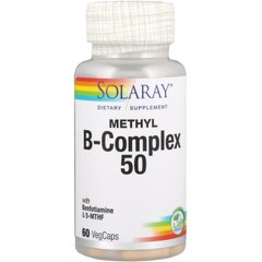 Solaray SOR-59912 Витамины группы В, Methyl B-Complex 50, Solaray, 60 вегетарианских капсул (SOR-59912)