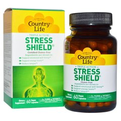 Country Life CLF5034 Антистрессовый энергетический комплекс, Stress Shield, Country Life, 60 гелевых капсул (CLF-05034)