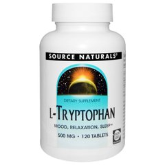 Source Naturals SNS-01980 Триптофан, L-Tryptophan, Source Naturals, 500 мг, 120 таблеток (SNS-01980)