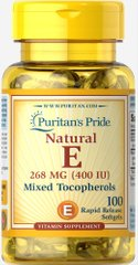 Puritan's Pride PTP-10460 Витамин Е и смесь токоферолов, Vitamin E Mixed Tocopherols, Puritan's Pride, 400 МЕ, 100 капсул (PTP-10460)