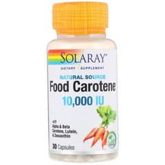 Solaray SOR-04113 Бета-каротин, Food Carotene, Solaray, пищевой, 10,000 МЕ, 30 капсул (SOR-04113)
